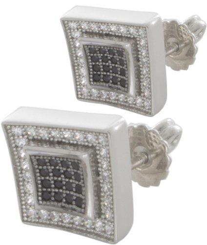 Sterling Silver White Black CZ Stone Mens Stud Earrings