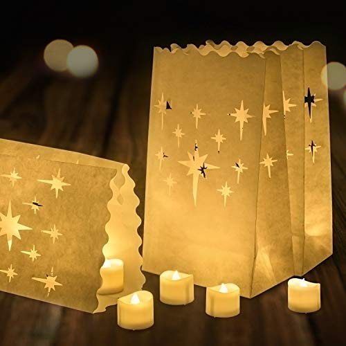 Paper Bag Halloween Luminaries (Homemory 24 Pack LED Tea Lights with 12 Pack Luminary Bags, Flameless Votive Tealights Candles with Warm White Flickering Bulb Light, Small Electric Fake Tea Candle for Wedding, Party,)