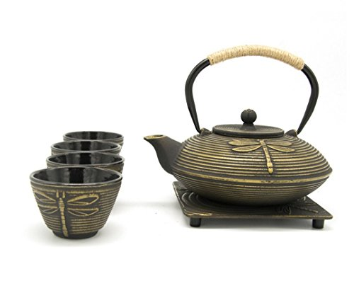Dragonfly Teapot - Dragonfly Pattern Japanese Antique Cast Iron Teapot Set -27 Ounce Teapot With Infuser Inside, Four Cups & Trivet Mat (Golden)