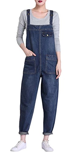Women's Casual Plus Size Loose Fit Jeans Bib Overall Denim Pants Blue US Large = Tag 3XL
