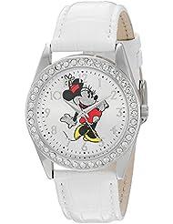 Disney Minnie Mouse Womens Silver Alloy Glitz Watch, White Leather Strap, W002764