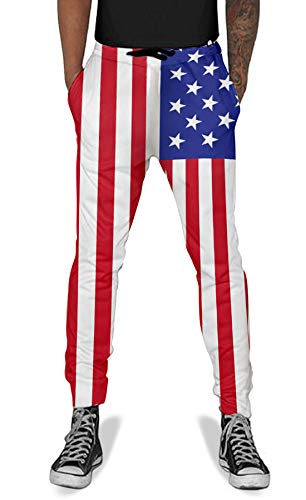 Teens Boys Girls 3D Printed Novelty Flag Jogger Pants Trousers Casual Sweatpants Small (American Flag Sweatpants)