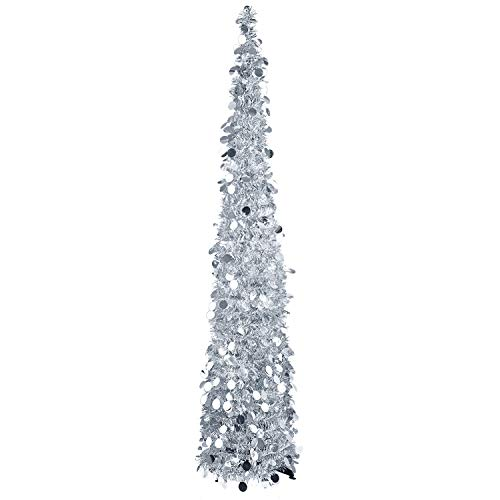 Silver Tinsel Pop Up Christmas Tree: Amazon.com: MACTING 5ft Pop Up Christmas Tinsel Tree With