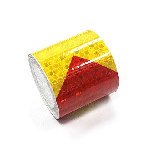 Cinta adhesiva reflectante flecha, Rojo-Amarillo, 5cmx10m(2'x394')