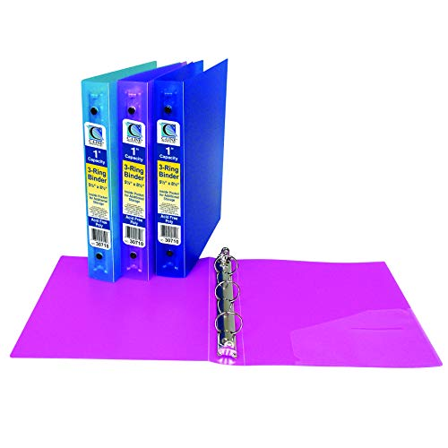 C-Line Products, Inc. CLI30710BN Mini Size 3-Ring Poly Binder, 1 Inch Capacity, Assorted, Pack of 6