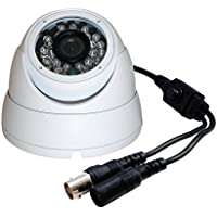 Evertech 1/4 1MP CMOS Sensor 720P AHD / 1000TVL Regular Analog Vandal Proof 24 IR Wide Angle Lens White Dome Camera with OSD Button for Security Surveillance Systems