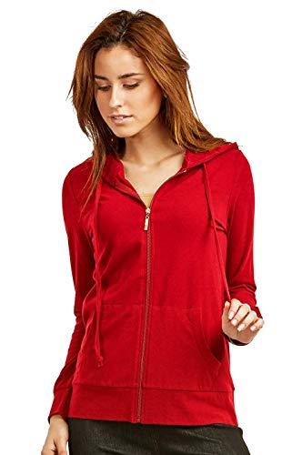 Women's Thin Cotton Zip Up Hoodie Jacket (L, RED) (Best Zip Up Hoodies Womens)
