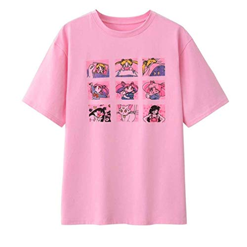 Acccity Japanese Anime Cotton Short Sleeve T-Shirt for Women Girls (Pink, XX-Large) -