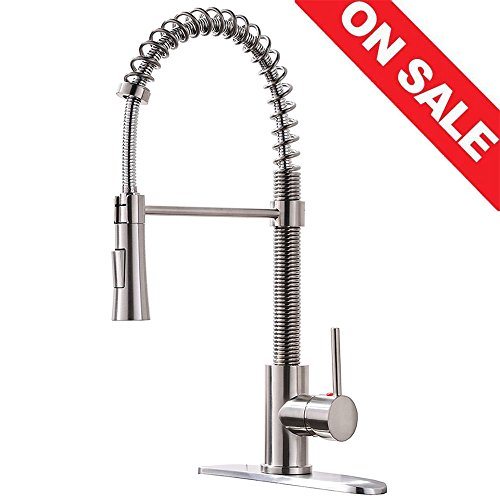 Kingo Home Lead Free Stainless Steel Single Lever Handle Pull Down Sprayer Brushed Nickel Kitchen Faucet Kitchen Sink Faucet With Deck Plate