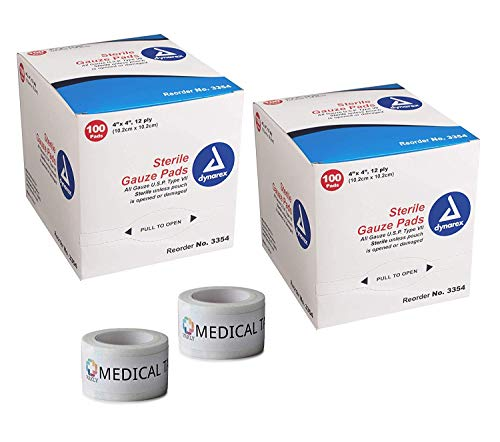 Dressing 4x4' Sterile - 2 Pack 4''x4'' Individually Wrapped (Economy) 12-Ply Sterile Gauze Pads (200 Total) + 2 Rolls of Vakly Medical Tape (4''x4'')
