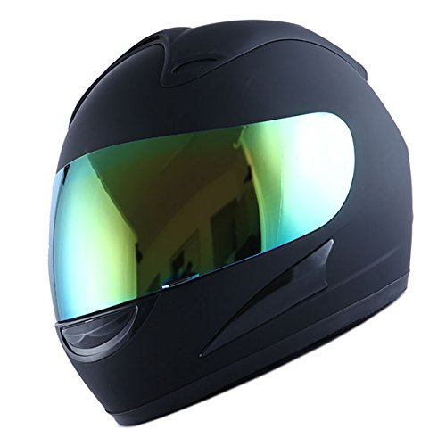 Motorcycle Street Bike Matt Solid Black Full Face Adult Helmet by Power Gear Motorsports