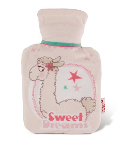 NICI 42254La Lounge Dalia Lama Hot Water Bottle with Fleece Cover, Beige/Brown Size: 40x 26.5x 6.5cm ()