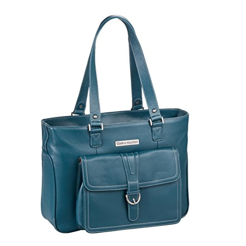 Clark & Mayfield Women's Stafford Pro Leather Laptop Tote (Fits laptops up to 15.6'', Deep Teal) by Clark & Mayfield