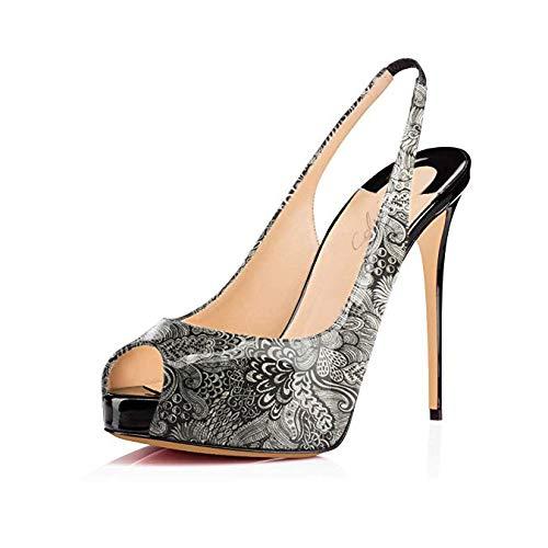 b65038086bd Women's Peep Toe Slingback Sandals Hidden Platform Pumps 5