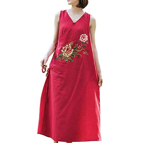 Ohne Rot Kleider Party Leinen Q32206 Feiertagskleid Cocktail Kleid Arm Lose Retro Baumwolle Damen DISSA Maxi BqX6q