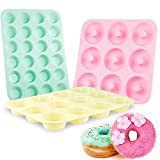 Senbowe Silicone Muffin and Cupcake Pans - Set of 3   Silicone Cake Baking Molds   Large (12) and Mini (24)  Medium Doughnut (9)   Easy to Clean Non Stick Bakeware   BPA Free and Dishwasher Safe