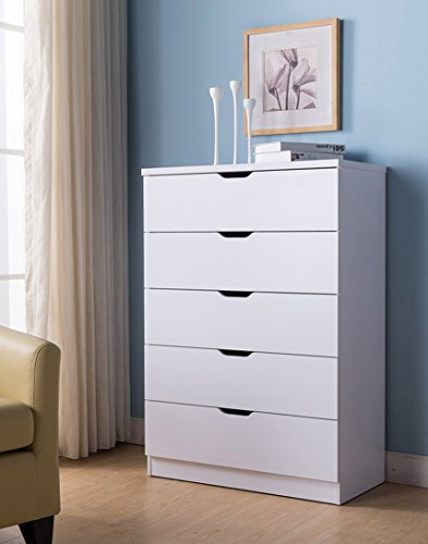 Smart home K16004 Modern 5 Drawer Chest Bedroom Dresser, White Color, Free Standing Dresser