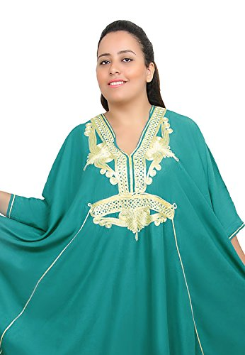 Moroccan Caftan Women Plus size Hand Made Caftan with Embroidery XXL to 4XL Green by Moroccan Caftans (Image #1)