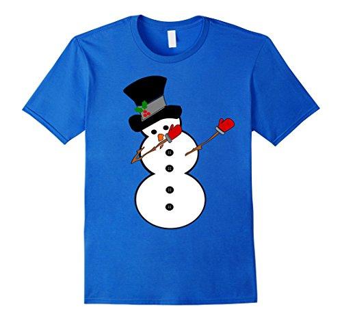 [Mens Dabbing Snowman T-Shirt Snow Sculpture Dab Dance Shirt Medium Royal Blue] (Snowman Dance Costumes)