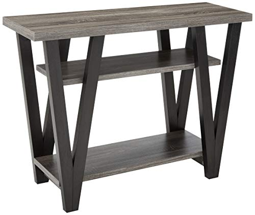 (Coaster 705399-CO 2 Shelf Console Table, Antique Grey/Black )