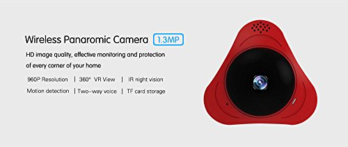 1.3MP 960P Wireless Wifi Security Camera 360 Degree Panoramic VR IP Camera Wide Angle Support Micro SD Card Record IR Night Vision Motion Detection Alarm Keep Pet and Home Safe ()