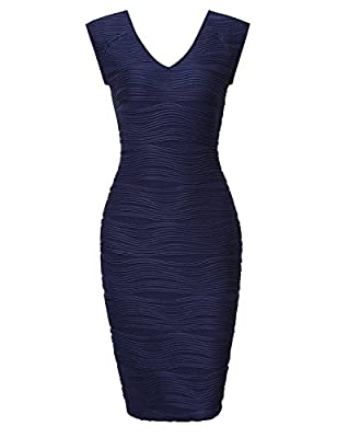 HiQueen Women's Sexy Sleeveless V Neck Cocktail Bodycon Dress