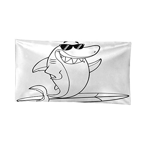 - Nicely Hippy Tapestries Black and White Smiling Shark Cartoon Mascot Character with Sunglasses Surfing and Waving BTS Tapestries 84W x 54L Inch
