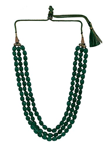 Efulgenz Indian Multi Layered Bollywood Green Faux Emerald Beads Wedding Bridal Necklace Jewelry Women ()
