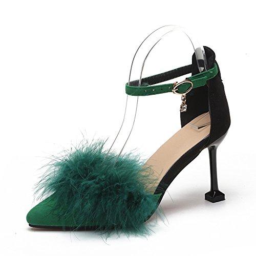 Invierno Solo GAOLIM El Del Para Femenino Tacón Y verde Con Zapatos El La El Hueco Otoño Uno Heel Luz Punta De Alto Fina El Y Shoes IBqrIX