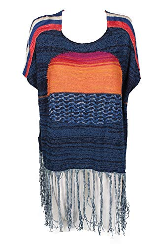 - Free People Women's Sunset Fringe Sweater Blue Combo Medium/Large