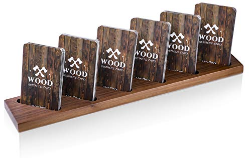 (MaxGear Wood Business Card Holder for Desk Multiple Business Card Display Holders Professional Business Card Stand Vertical Business Cards Holder Display for Desktop Business Cards Holder, Walnut )