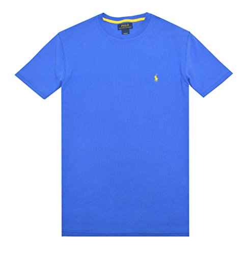 (Polo Ralph Lauren Men's Short Sleeve Crew-Neck Thermal Top (Large, Blue/Yellow pony))
