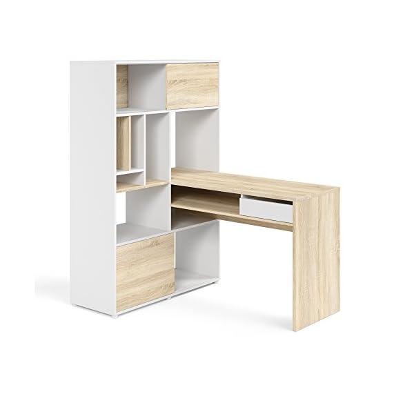 Tvilum Weston 1 Drawer, 2 Sliding Door Desk, White/Oak Structure