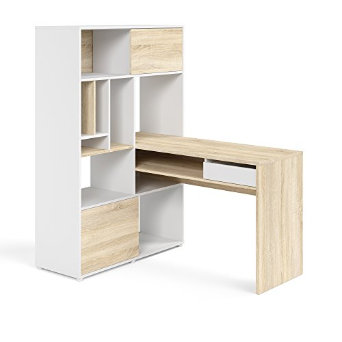 TVILUM 8017849ak Weston 1 Drawer, 2 Sliding Door Desk, White/Oak Structure
