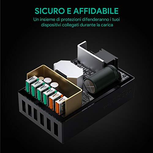 AUKEY Quick Charge 3.0 Caricabatterie USB da Muro 6 Porte 60W Caricatore USB per Samsung Galaxy S8 / Note 8, LG G5 / G6, Nexus 5X / 6P, HTC 10, iPhoneX/8/8Plus, iPad, Smartphone e Tablet ECC.