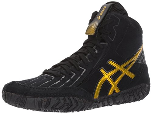 ASICS Men's Aggressor 3 Wrestling Shoe, Black/Rich Gold, 10 Medium US