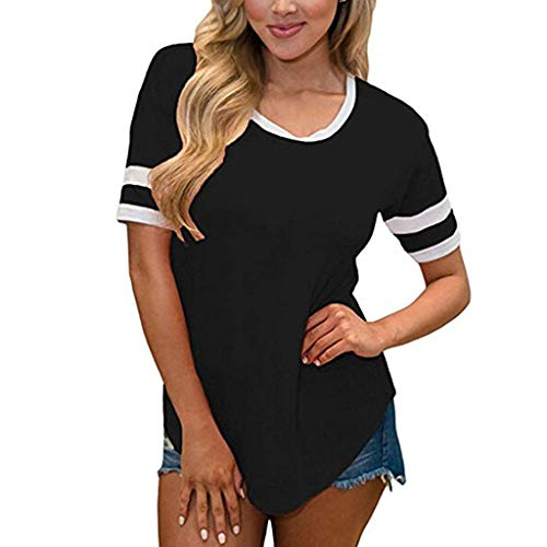 NRUTUP Casual Tunic Tee Sales Women Summer Simple Short Sleeve Round Neck T-Shirt Tops Blouse Tunic(Black,L)