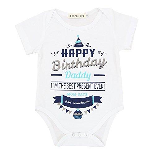 VIEWIM Newborn Baby Boys Girls Happy Birthday Daddy Dad's Gift Romper Bodysuit (Happy Baby Onesie)