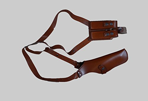 ALIS453 Leather Vertical Shoulder Holster with Double Magazine Pouch Soft Fabric Interior Lining Colt Beretta CZ 75 Ruger Springfield up to 5