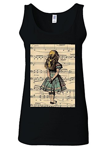 Price comparison product image Alice in Wonderland Syllable Black Women Vest Tank Top-XL