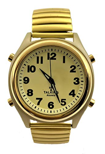 Atomic Talking Watch Sets Itself with a Touch of a Button! Unisex Gold Stretch Band w/Alarm Speaks time, Day, Date and Year. Great for The Blind, Elderly or Visually impaired - 8421ATM Gold