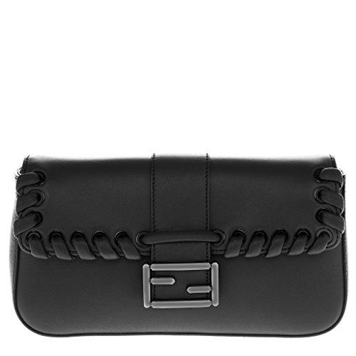 Fendi-Womens-Baguette-Weaved-Flap-Front-with-Metal-Logo-Buckle-Shoulder-Bag-Black