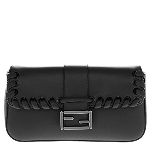 Fendi Women's 'Baguette' Weaved Flap-Front with Metal Logo Buckle Shoulder Bag Black