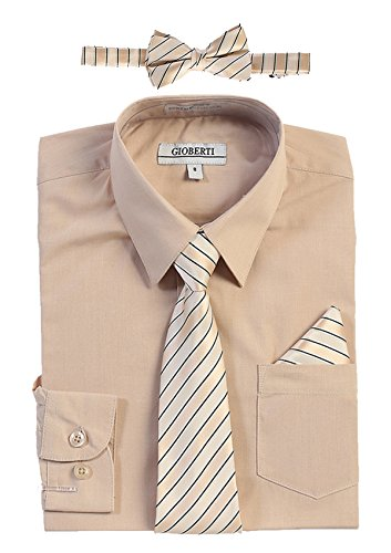 - Gioberti Boy's Long Sleeve Dress Shirt and Stripe Zippered Tie Set, Khaki, Size 12