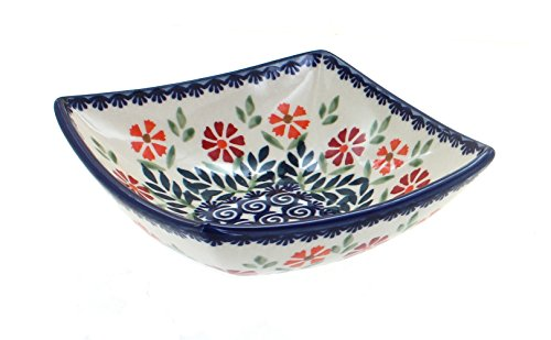 - Blue Rose Polish Pottery Garden Bouquet Small Square Bowl