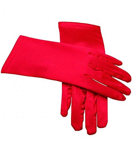 Miranda's Bridal Women's Wrist Length Formal Satin Gloves Red ()