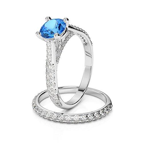 G-H/VS 1CT Coupe ronde sertie de diamants Topaze bleue et diamants blancs et bague de fiançailles en platine 950Agdr-2013