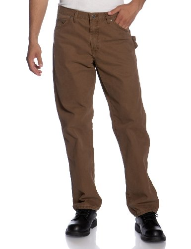 Dickies Mens Utility Pant (Dickies Men's Sanded Duck Carpenter Jean, Timber,)
