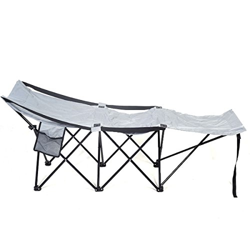 Super buy Folding Camping Cot Portable Adventure Camp Bed Cot Hammock Sleeping Steel w/Bag