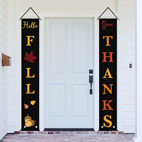 AVOIN Hello Fall Give Thanks Porch Sign Acorn Maple Leaf Leaves, Autumn Harvest Vintage Thanksgiving Hanging Banner Flag for Yard Indoor Outdoor Party 12 x 72 Inch